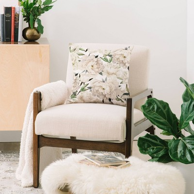 "18""x18"" Nadja Peonies Pattern Square Throw Pillow - Deny Designs : Target"