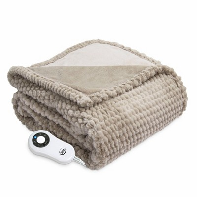 """50"""" x 60"""" Honeycomb Faux Fur Electric Throw Blanket Taupe - Serta"""