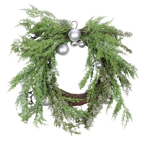 Silver Christmas Wreath.Northlight 24 Unlit Iced Cedar Silver Ornaments And Bells Artificial Christmas Wreath
