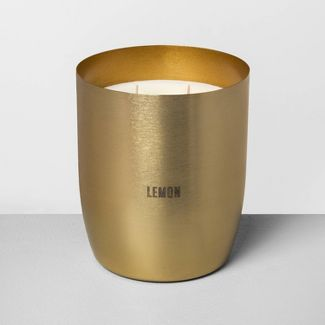 25oz Large Brass 2-Wick Candle Lemon - Hearth & Hand™ with Magnolia