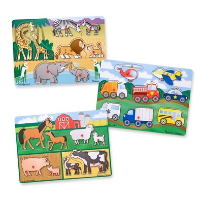 Melissa & Doug Wooden Peg Puzzles Set - Farm, Safari, and Vehicles 24pc