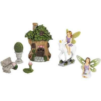 Juvale 6 Pieces Unicorn Garden Fairy Figurines, Whimsical Decor