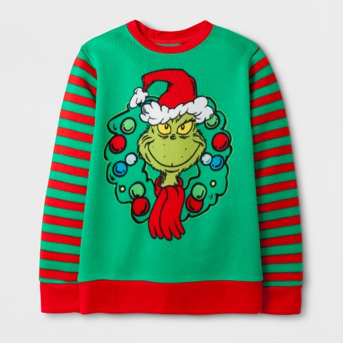 Boys' Dr. Suess How The Grinch Stole Christmas Sweatshirt - Green/Red - image 1 of 1