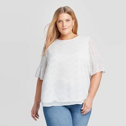 Women's Plus Size Floral Print Short Sleeve Crewneck Chiffon Blouse - Ava & Viv™