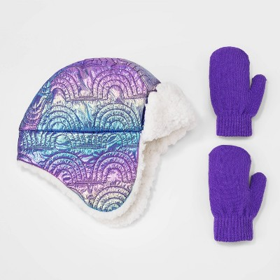 Toddler Girls' Quilted Rainbow Hat and Gloves Set - Cat & Jack™ Purple