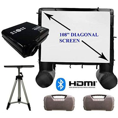 Total Homefx Deluxe Weather-Resistant Inflatable Theatre Kit With Outdoor Projector, Projection Screen, Dual Speakers, And Projector Stand