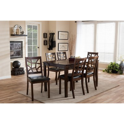 7pc Mozaika Wood and Leather Contemporary Dining Set Black - Baxton Studio