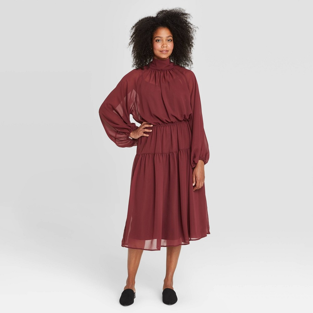 80s Dresses | Casual to Party Dresses Womens Long Sleeve Dress - Prologue Dark Red XXL $34.99 AT vintagedancer.com