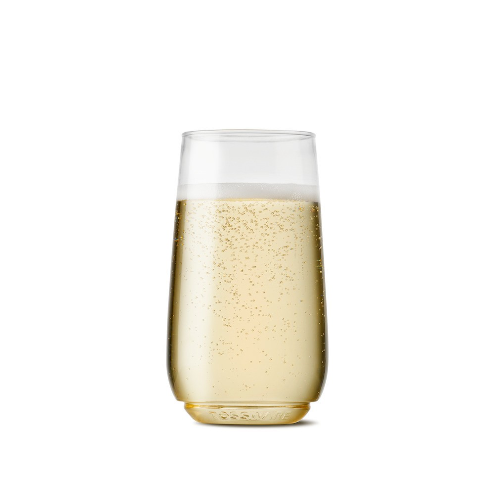 6oz Flute Junior Champagne Plastic Glass Set of 12 - Tossware, Clear