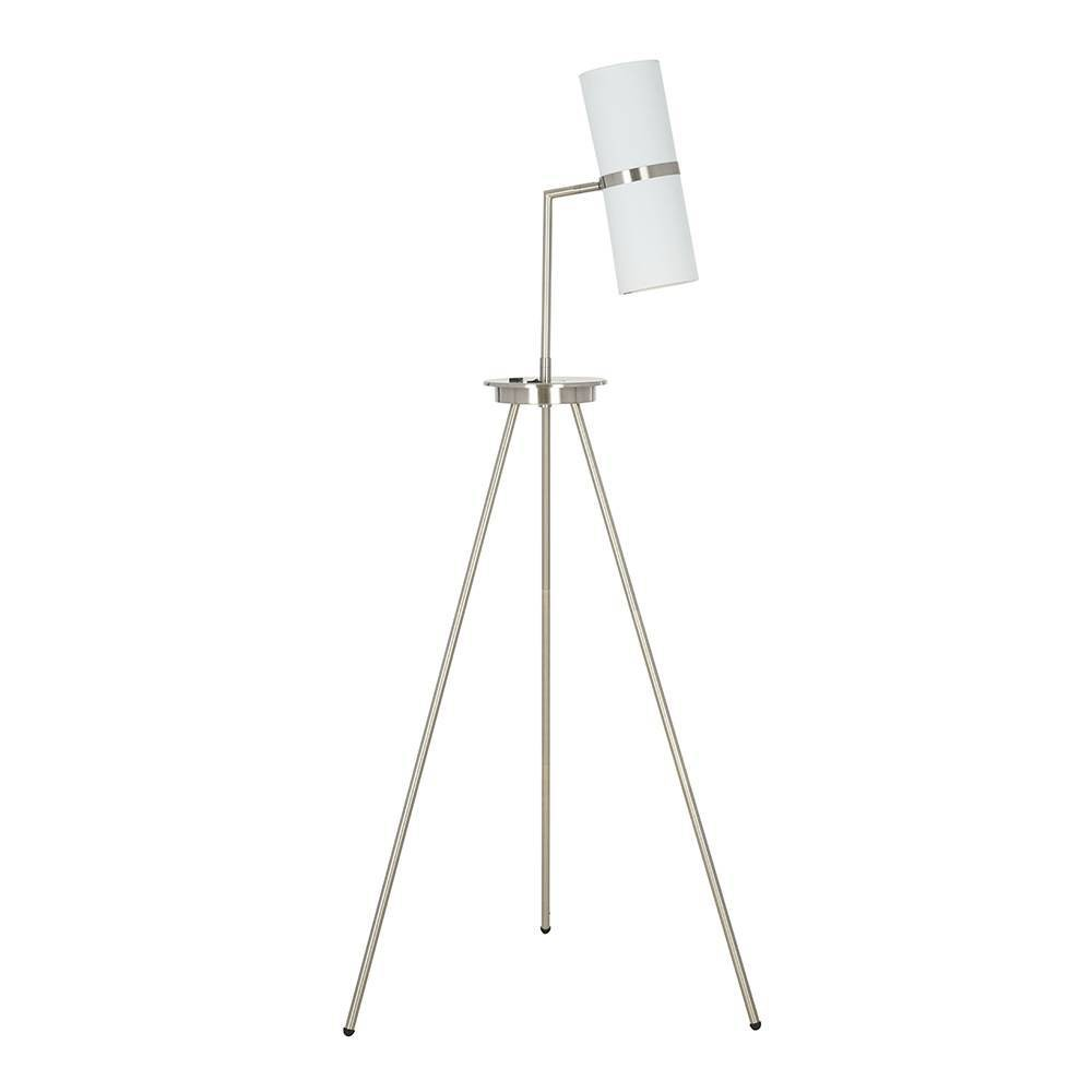 Tripod Shaded Led Floor Lamp with Usb Steel (Silver) (Includes Energy Efficient Light Bulb) - Cresswell Lighting