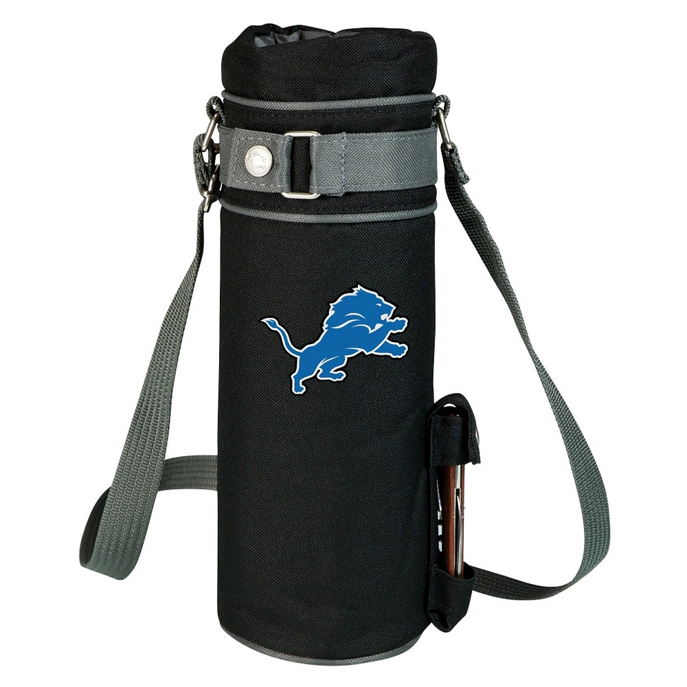 Detroit Lions - Wine Sack Beverage Tote by Picnic Time (Black) Those who enjoy wine will appreciate the style and simplicity of the Wine Sack, an insulated single-bottle tote with an adjustable shoulder strap. It features a stainless steel waiter-style corkscrew conveniently stored in its own secure pocket. The Wine Sack is made of polyester canvas with complementing brown trim. The tote is fully-insulated to keep your wine at the perfect temperature until you're ready to uncork it. Perfect for any occasion. When you'd like to bring your own wine to share, let the Wine Sack help you take it there! Color: Detroit Lions.