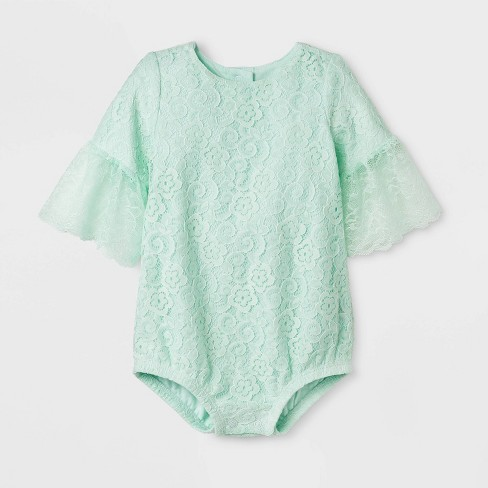 Baby Girls' Lace Romper - Cat & Jack™ Mint - image 1 of 1