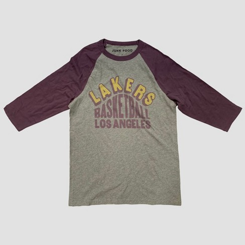 416dacb8c0c Junk Food Men s 3 4 Sleeve NBA Lakers Graphic T-Shirt - Heather   Target
