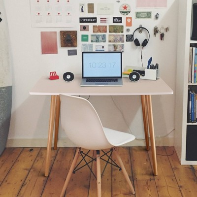 Mid-Century Style Wooden Desk White/Natural - Flora Home