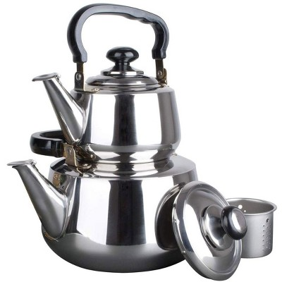 Aramco Alpine Cuisine Double Stainless Steel Stove Top Tea Kettle Set with Loose Leaf Strainer for Traditional Turkish Tea, Silver
