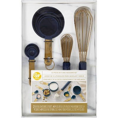 Wilton 10pc Kitchen Utensils Mix and Measure Set Navy Blue/Gold