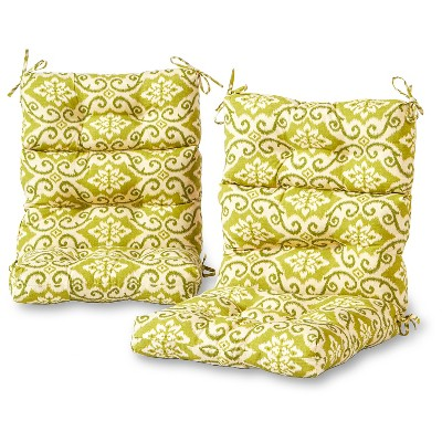 Set Of 2 Outdoor High Back Chair Cushions   Green Ikat   Greendale Home  Fashions