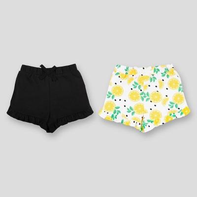 Lamaze 2pk Baby Girls' Organic Cotton Pull-On Shorts - Yellow/Black 0-3M