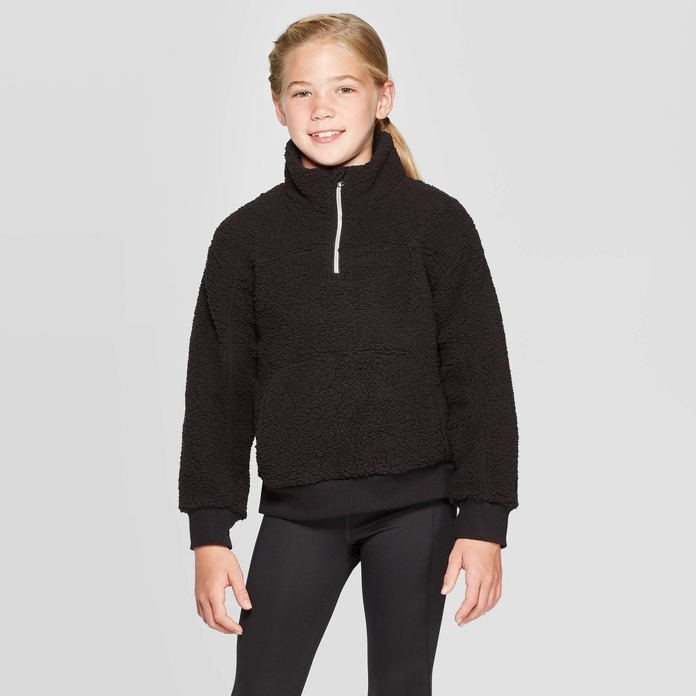 Image of Girls' Sherpa Fleece 1/4 Zip Pullover - C9 Champion Black L, Girl's, Size: Large