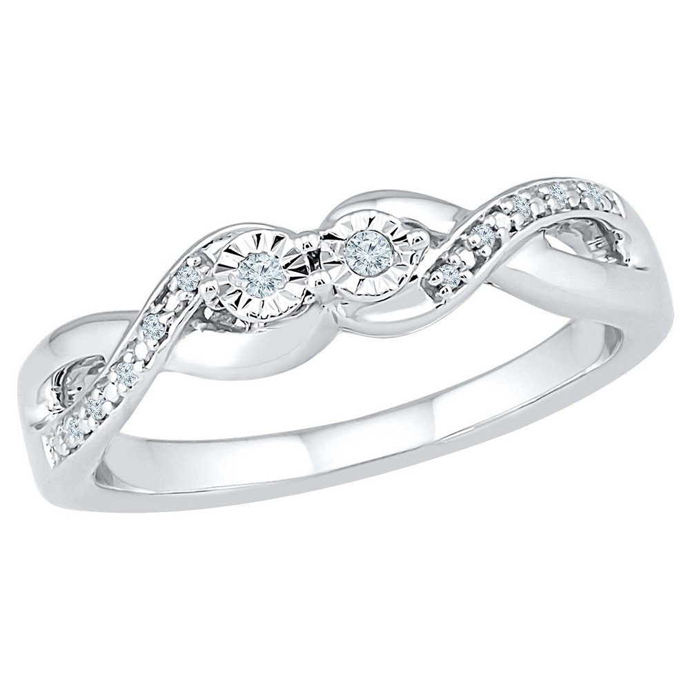 1/20 CT. T.W. Round White Diamond Pave/Miracle Set Promise Ring in Sterling Silver - (7), Girl's