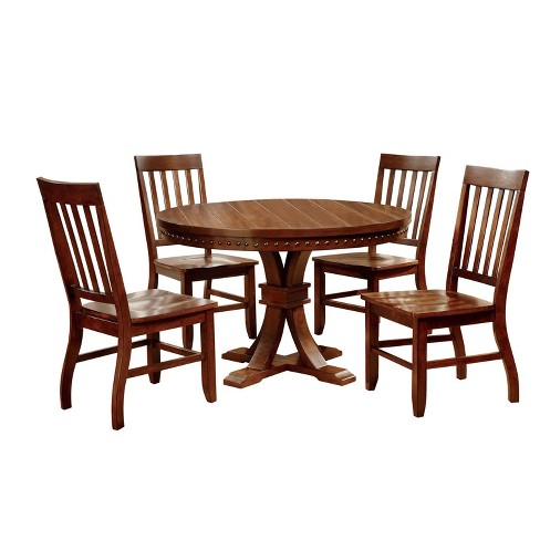 Sun Pine 5pc Nail Head Trimmed Pedestal Round Dining Table Set