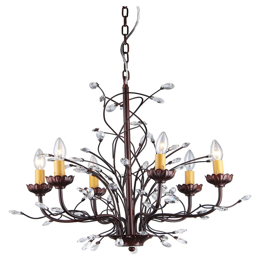 Warehouse Of Tiffany Chandelier Ceiling Lights -Maroon, Silver