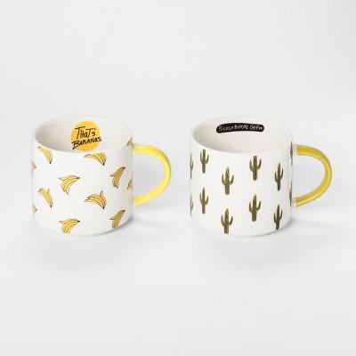 Bananas and Cactus Mug 15oz Green/Yellow - Set of 2 - Room Essentials™