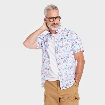 Pride Gender Inclusive Adult Animal Print Short Sleeve Woven Button-Down Shirt - White