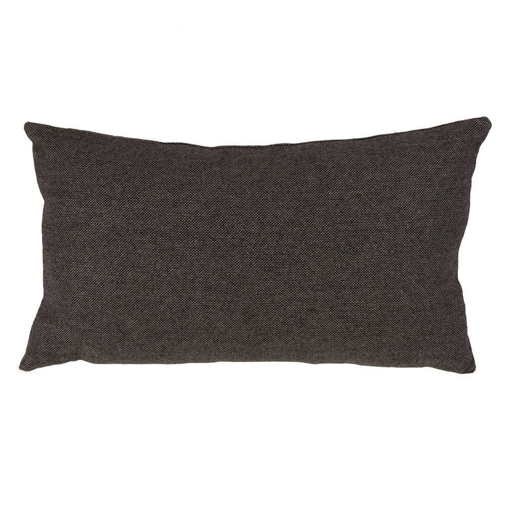 "Image of ""12""""x20"""" Down Filled Herringbone Pillow Charcoal - Saro Lifestyle, Size: 12""""x20"""", Black"""
