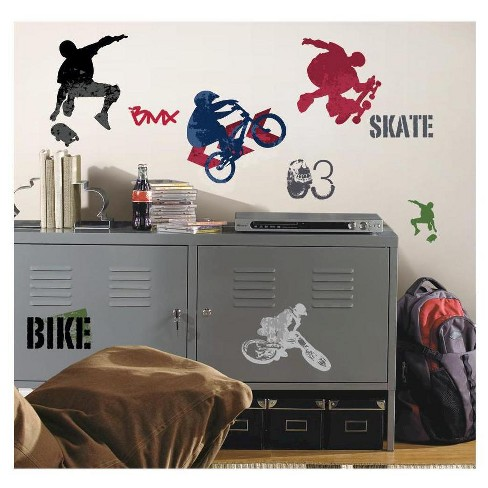 roommates extreme sports peel & stick wall decals : target