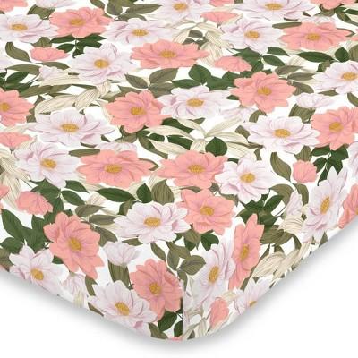 NoJo Pink & White Floral Mini Crib Sheet