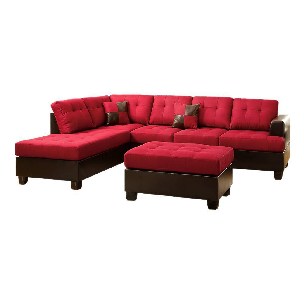 Image of 3pc Blended Linen Sectional Sofa Carmine Red/Brown - Benzara