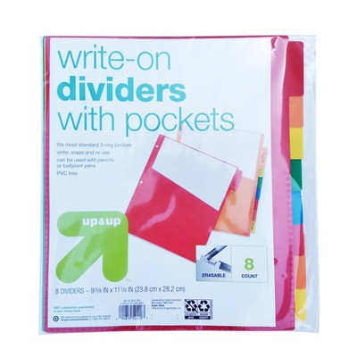 8ct Write-On Index Dividers with Pockets - up & up™