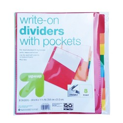 8ct Write-On Index Dividers with Pockets - Up&Up™