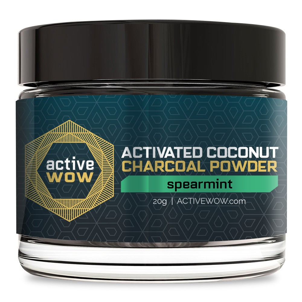 Active Wow Spearmint Activated Charcoal Tooth Powder - 20g