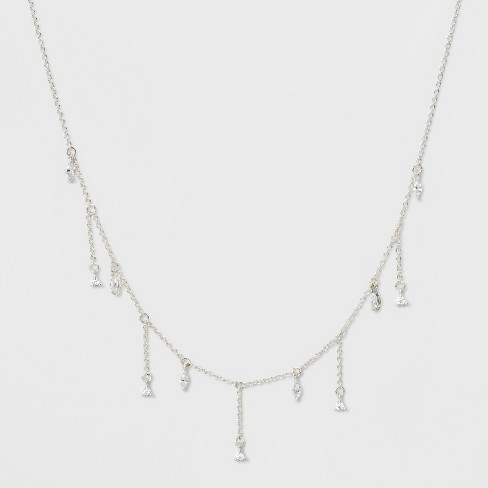 Drop Cubic Zirconia Stone with Delicate Fringe Chain Necklace - A New Day™ Silver - image 1 of 2