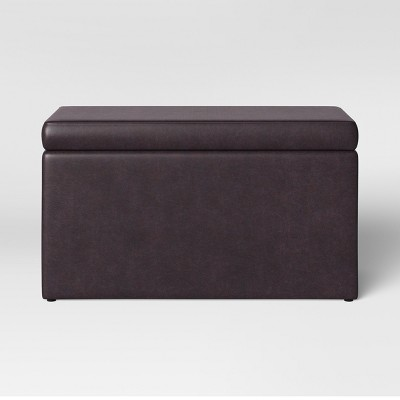 Double Storage Ottoman Brown Faux Leather - Room Essentials™