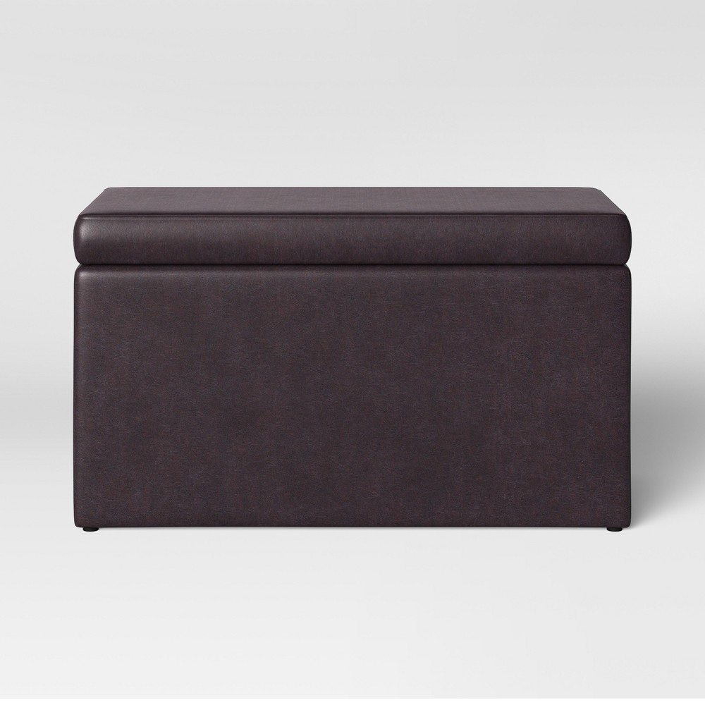 Double Storage Ottoman Brown Faux Leather - Room Essentials