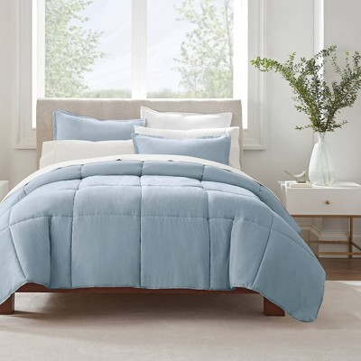 King 3pc Simply Clean Comforter Set Light Blue - Serta
