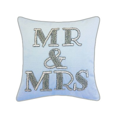 """18""""x18"""" Celebrations Beaded """"Mr & Mrs"""" Sqaure Pillow Blue - Edie@Home"""