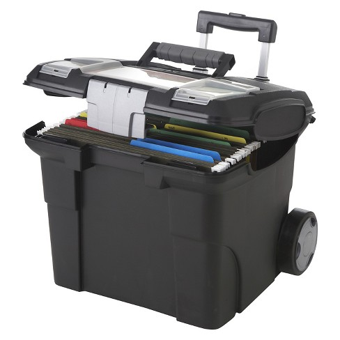 Storex® File Box on 2 Wheels with Handle - Black - image 1 of 1