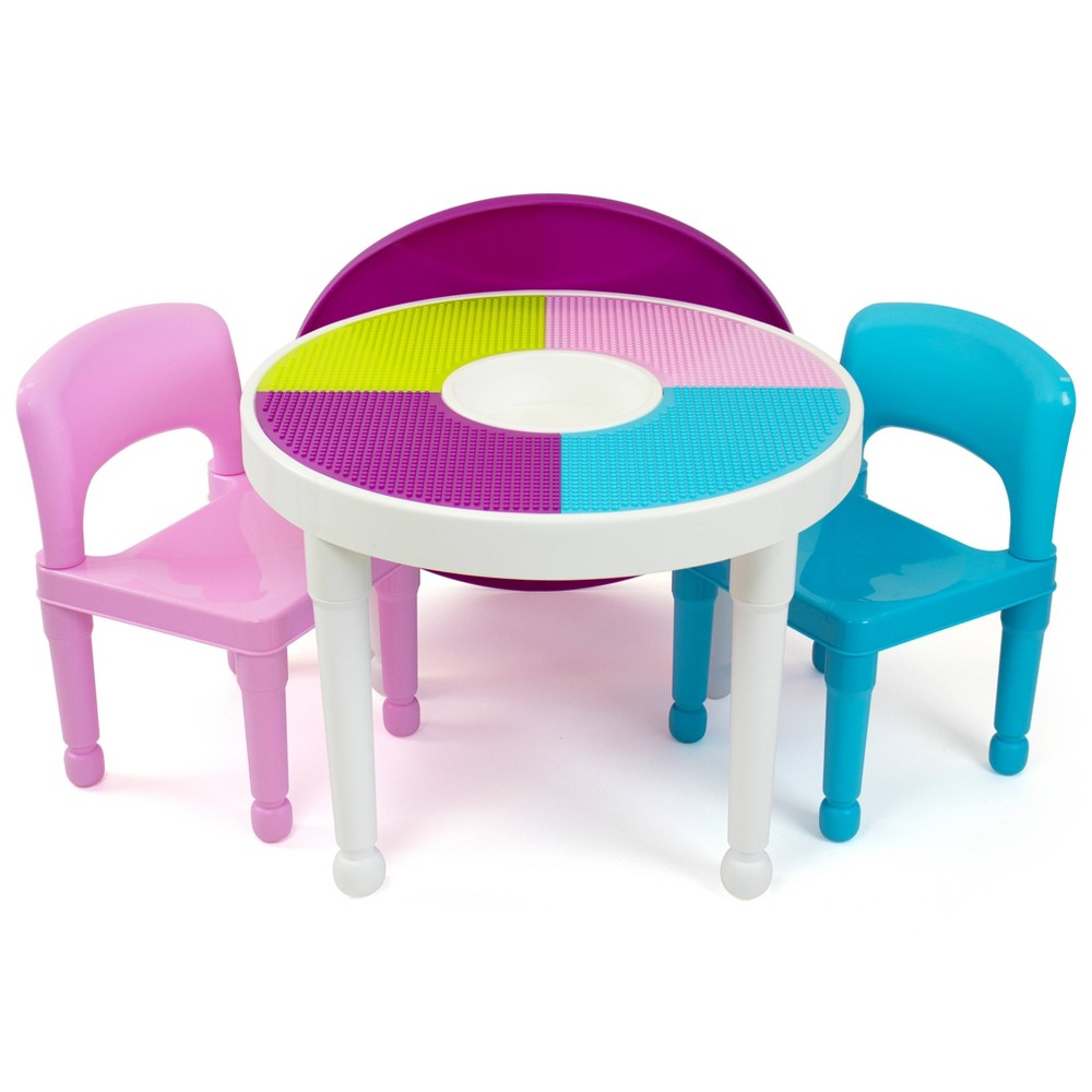 Image of 3pc Round Plastic Construction Table With Chairs & Cover - Humble Crew
