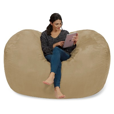 6' Large Bean Bag Lounger with Memory Foam Filling and Washable Cover Camel Brown - Relax Sacks