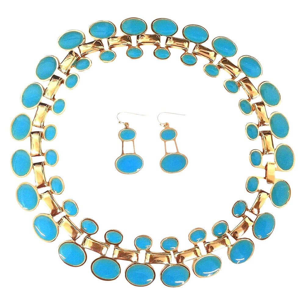 "Image of ""Enamel and Polished Oval """"Cleopatra"""" Statement Necklace and Earrings Set - Turquoise, Women's"""