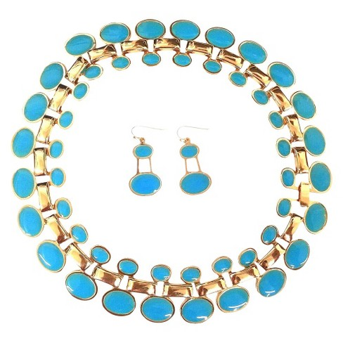 "Enamel and Polished Oval ""Cleopatra"" Statement Necklace and Earrings Set - Turquoise - image 1 of 1"
