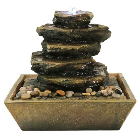 12 H Polyresin Cascading Rocks Indoor Tabletop Water Fountain With Led Light Sunnydaze Decor