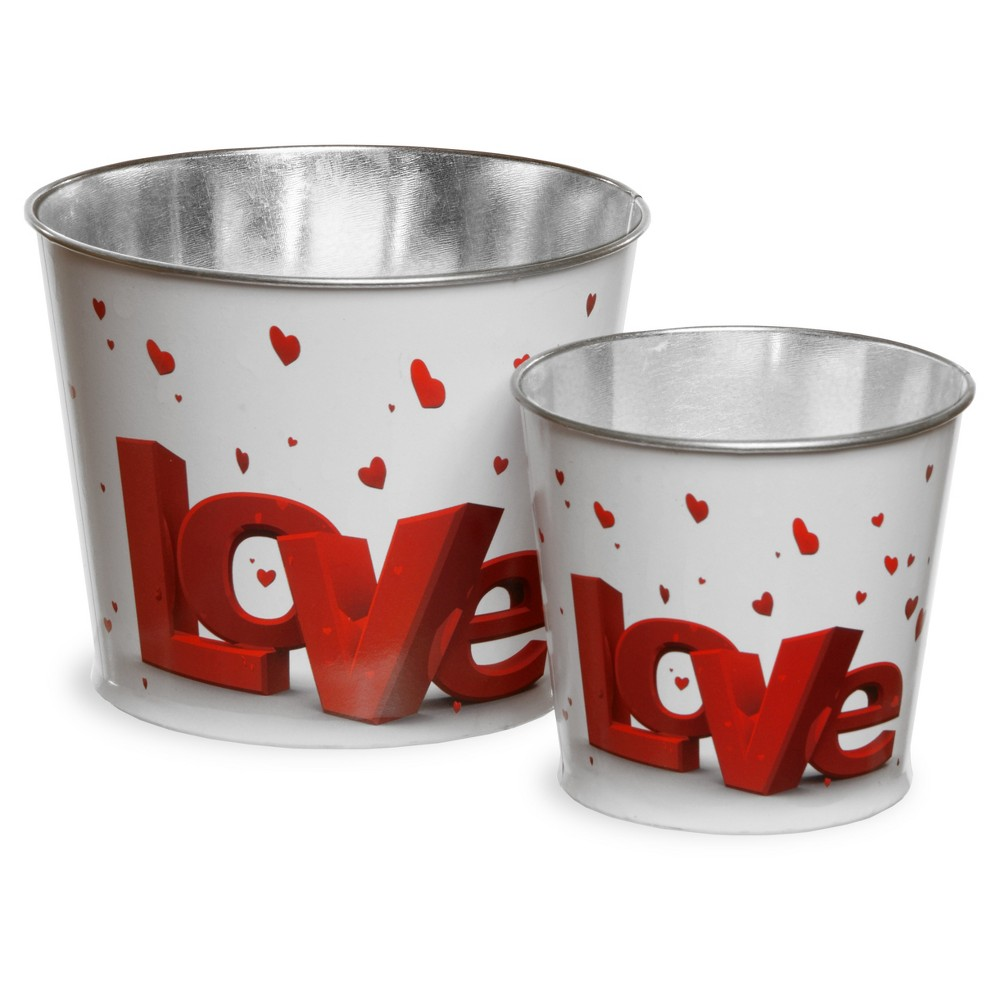 Image of Valentine Motif Tin Pots Red/White 2pk - National Tree Company