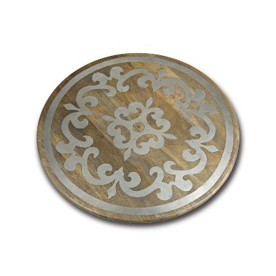 GG Collection 22-Inch Diameter Metal-Inlaid Wood Heritage Lazy Susan