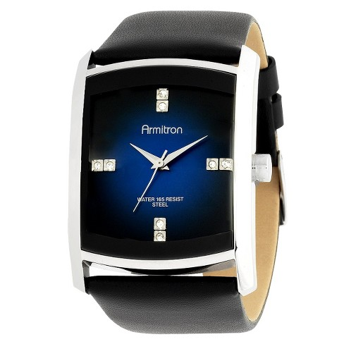Men's Dressy Sport Leather Strap Watch - Black - image 1 of 1