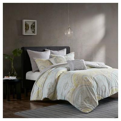 Yellow Leyla 100% Cotton Printed 7pcs Comforter Set
